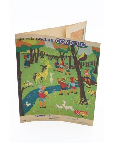 Protège-cahier publicitaire ancien biscuits Gondolo