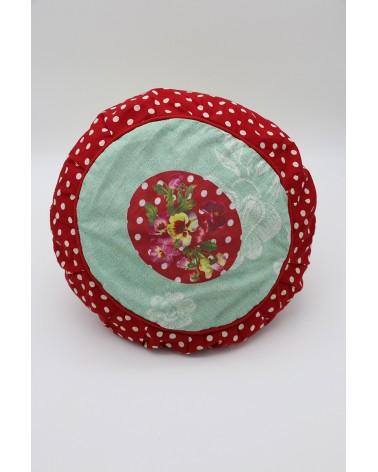 Coussin rond rouge pois et fleurs