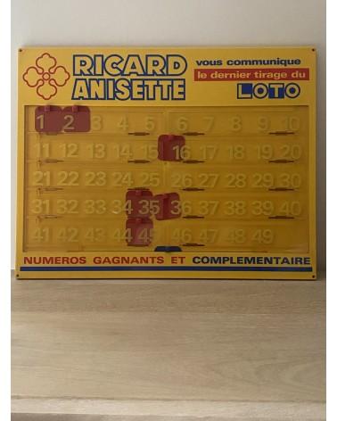 panneau d'affichage du tirage du Loto Ricard Anisette