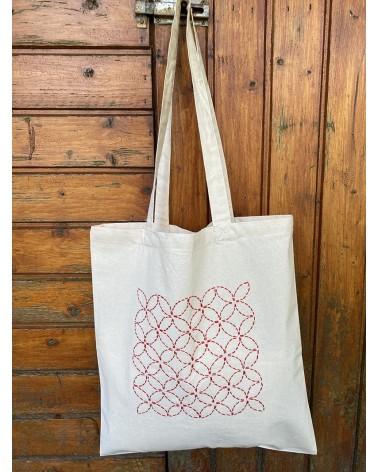 Tote bag à broder inspiration sashiko