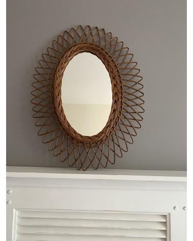 Miroir soleil vintage ovale années 60