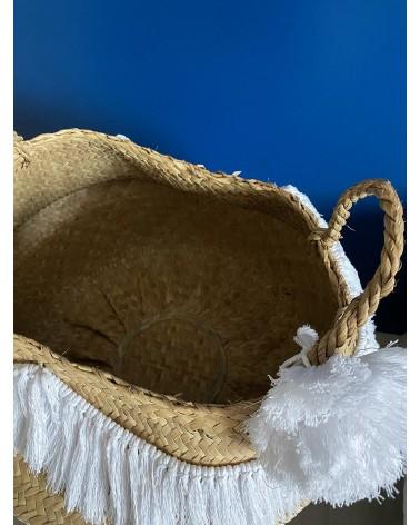 Panier blanc macramé