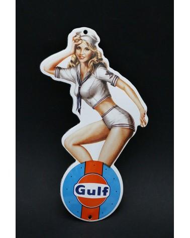 Plaque émaillée pin up Gulf