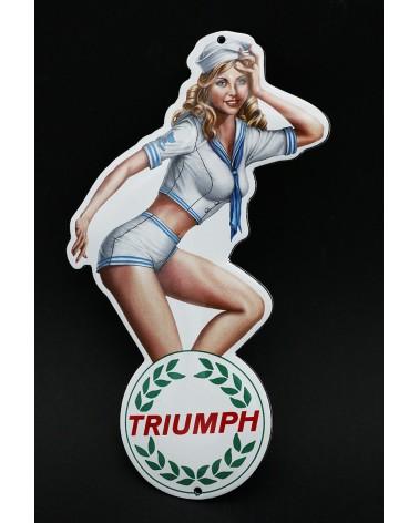 Plaque émaillée pin up Triumph