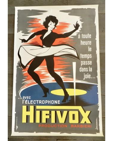 Affiche publicitaire l'électrophone Hifivox production Barbieri