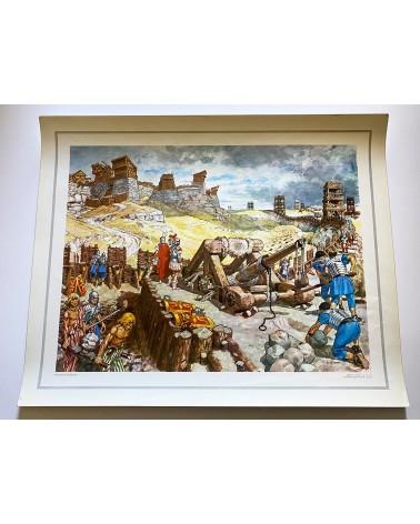Affiche scolaire éditions CDN - Vue d'un camp romain illustration Pierre Joubert