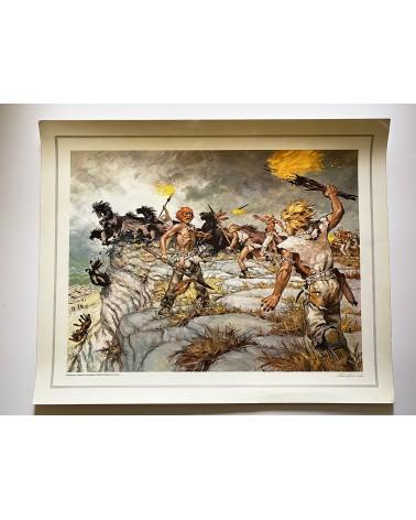 Affiche scolaire éditions CDN - Chasse aux chevaux sauvages à Solutré - illustration Pierre Joubert