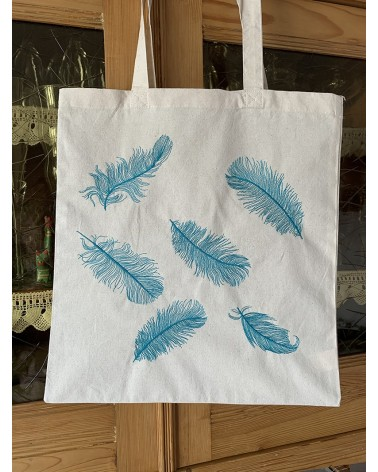 """Tote bag brodé motif """"plumes """" en turquoise"""