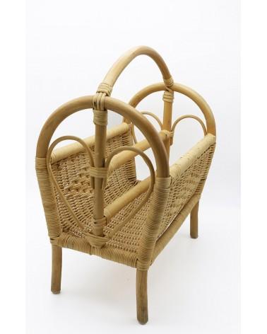 Porte-revue osier et bambou années 70