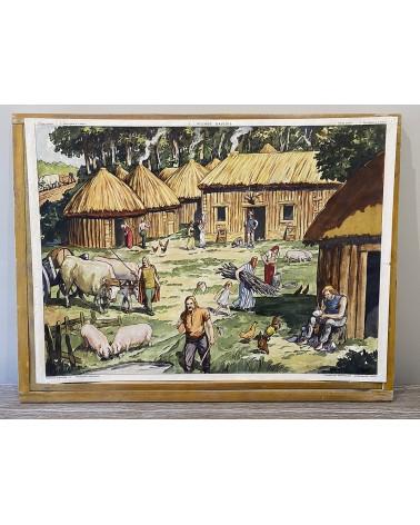 Vieille carte scolaire Rossignol 1-Village gaulois/2-Vercingétorix