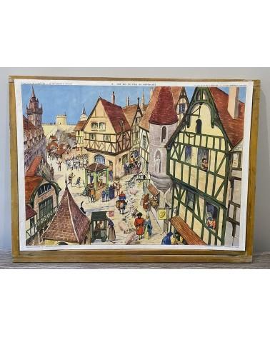 Affiche scolaire 15-Une cathédrale en construction/16-Une rue de ville au Moyen-Age