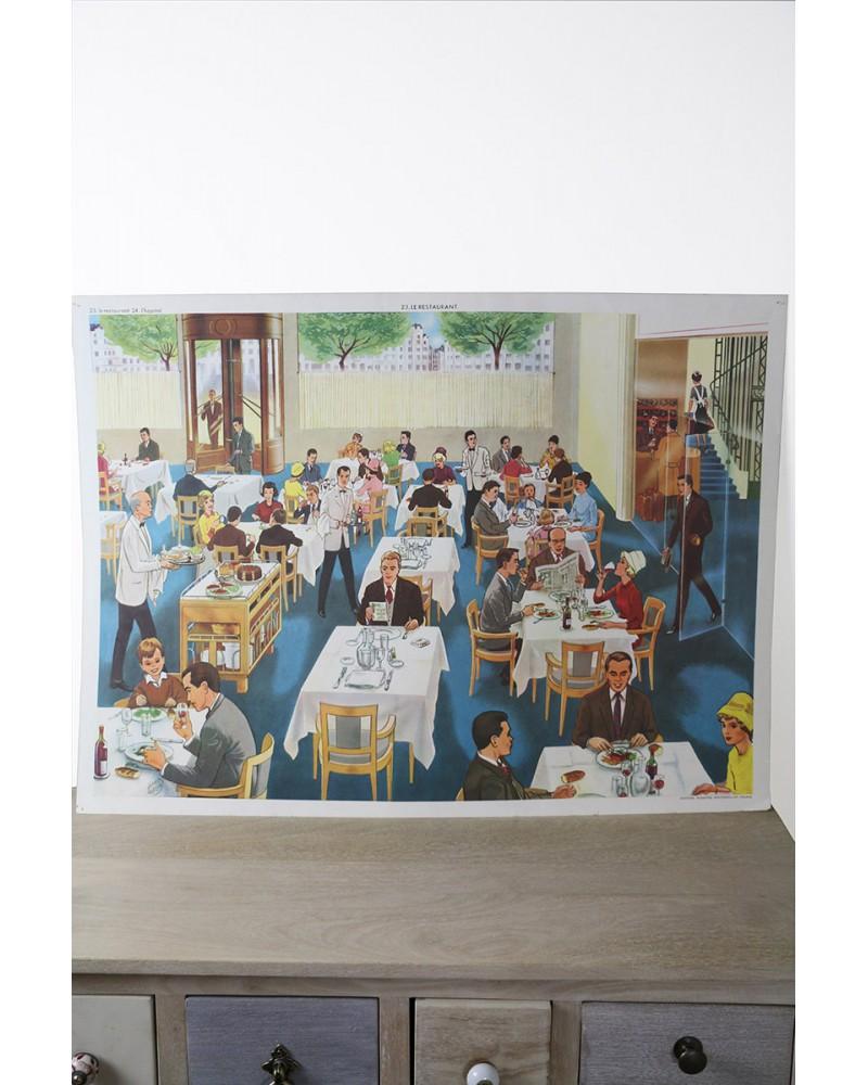 Affiche scolaire Editions Rossignol Le restaurant