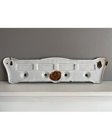 """Porte-torchon ancien émaillé avec inscription """"Mains, verres, couteaux, vaisselle"""""""
