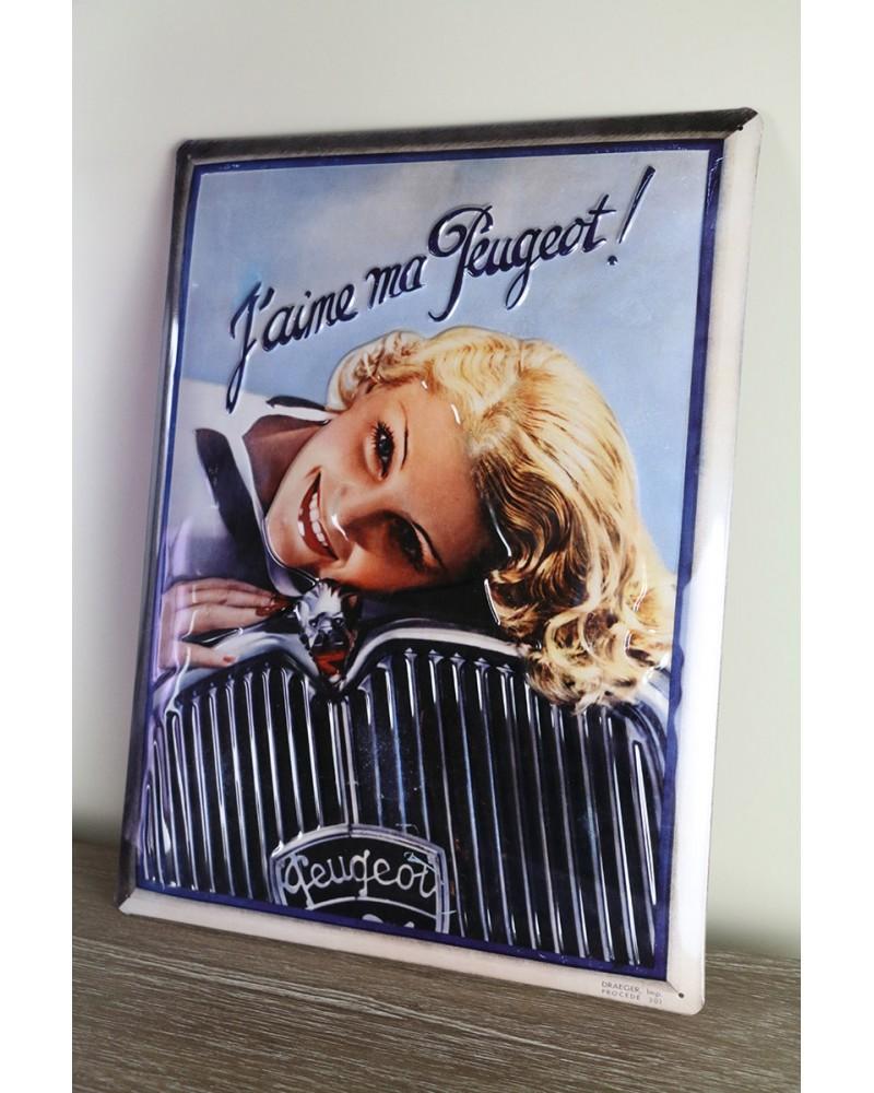 Plaque métallique J'aime ma Peugeot