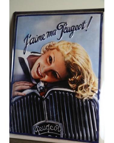 Plaque métallique pub J'aime ma Peugeot